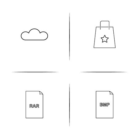 Files and folders. Sign simple linear icons set. Outlined vector icons. Illustration