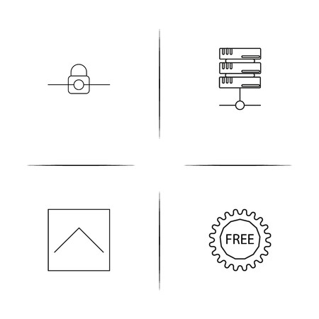 Internet Technologies simple linear icons set. Outlined vector icons