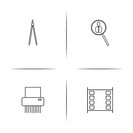 Creative process and design simple linear icons set. Outlined vector icons Illustration