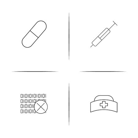 Healthcare and medical simple linear icons set.