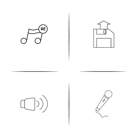 Outlined vector icons of microphone, volume, upload and music note. Illustration