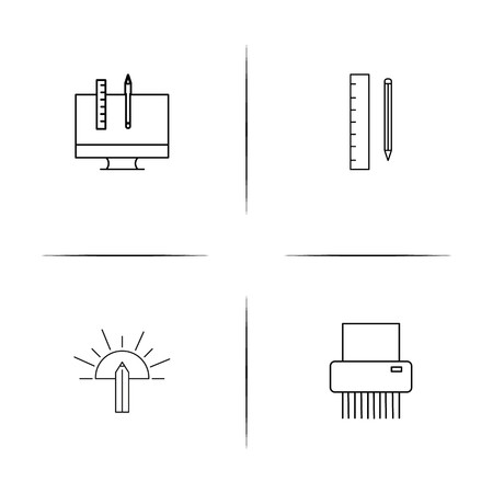 Creative Process And Design simple linear icons set. Outlined vector icons Stock Illustratie