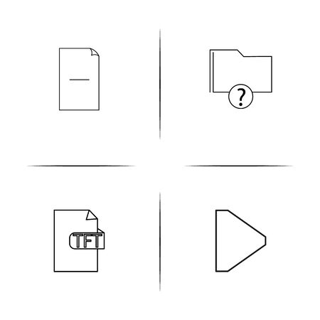 Archivos y carpetas, firman conjunto de iconos lineales simples. Iconos vectoriales contorneados Foto de archivo - 98306074