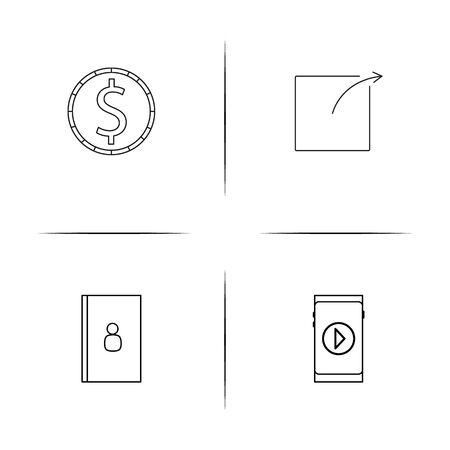 Internet Things simple linear icons set. Outlined vector icons Illustration