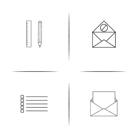 Office simple linear icons set. Outlined vector icons Иллюстрация