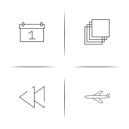 Signs And Symbols simple linear icons set. Outlined vector icons Иллюстрация