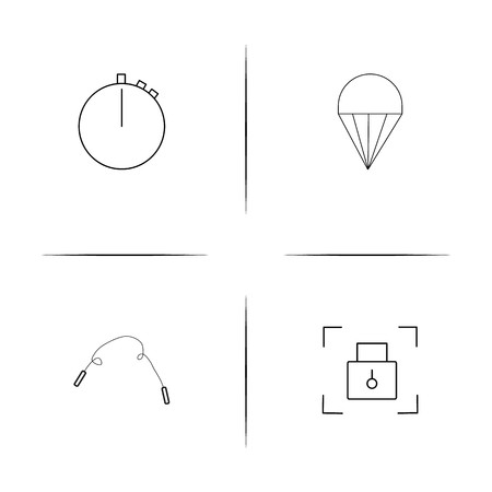 Sport Fitness And Recreation simple linear icons set. Outlined vector icons Vettoriali