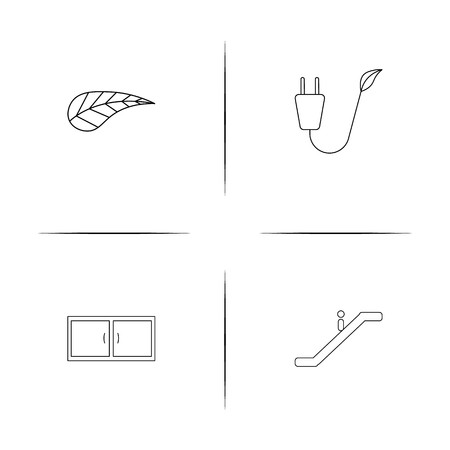 Industry simple linear icons set. Outlined vector icons Ilustração
