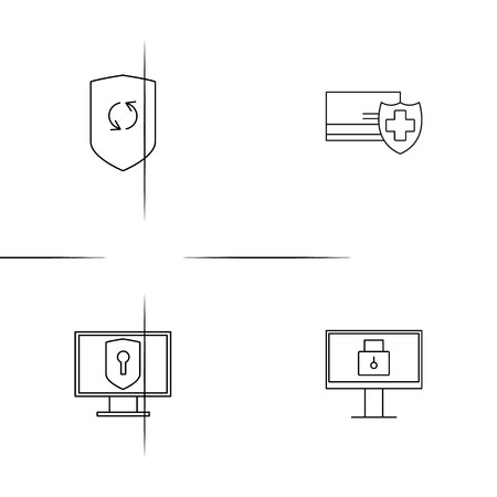 Internet Security simple linear icons set. Outlined vector icons