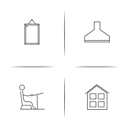 Home Appliances And Equipment simple linear icons set. Outlined vector icons