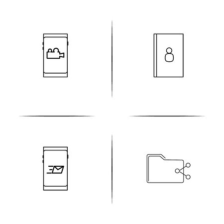 Internet things simple linear icons set. Outlined vector icons Ilustração