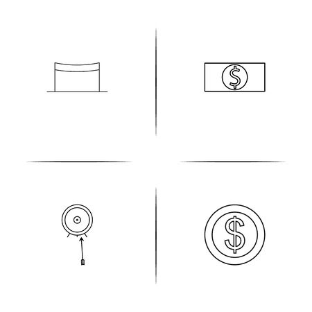 Banking, Finance And Money simple linear icons set. Outlined vector icons. Ilustrace