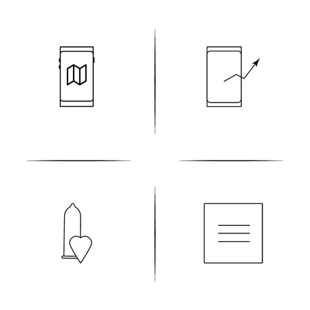 Signs And Symbols simple linear icons set. Outlined vector icons Ilustracja