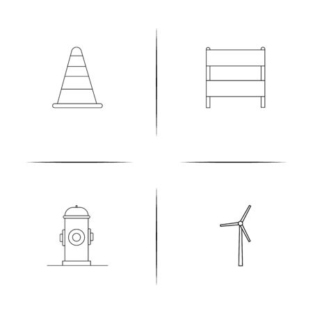 Industry simple linear icons set. Outlined vector icons Çizim