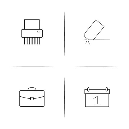 Office simple linear icons set. Outlined vector icons Illustration