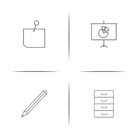 Office simple linear icons set. Outlined vector icons  イラスト・ベクター素材