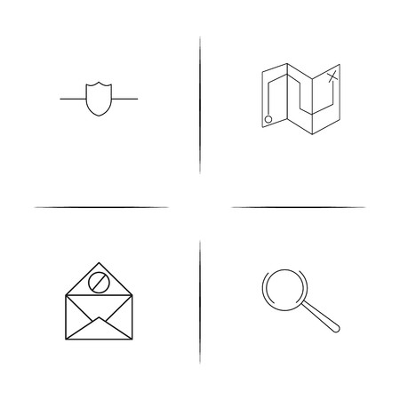 Web And Text simple linear icons set. Outlined vector icons