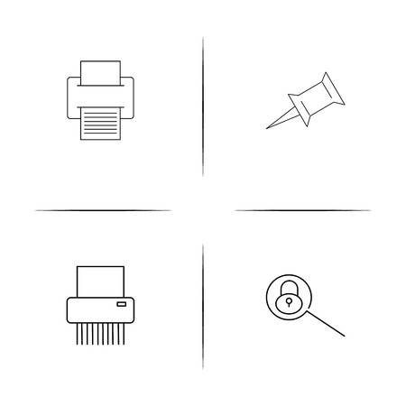 Business simple linear icons set. Outlined vector icons Illustration