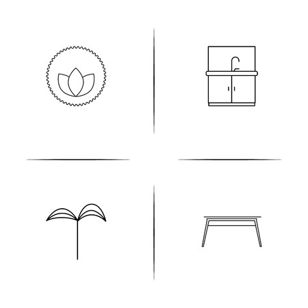 Furniture simple linear icons set. Outlined vector icons Çizim