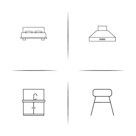 Furniture simple linear icons set. Outlined vector icons Ilustracja