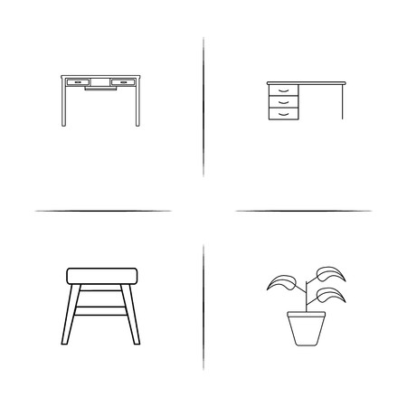 Furniture simple linear icons set. Outlined vector icons Vettoriali