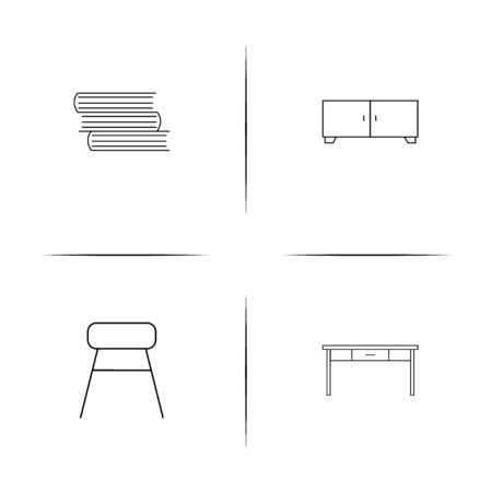 Furniture simple linear icons set. Outlined vector icons Illustration