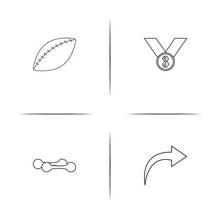 Sport Fitness And Recreation simple linear icons set. Outlined vector icons Illustration
