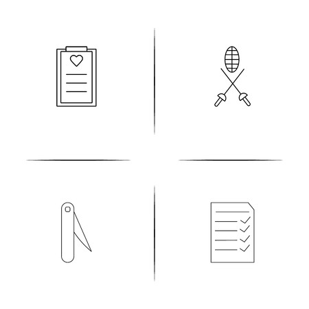 Sport Fitness And Recreation simple linear icons set. Outlined vector icons. Ilustração