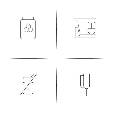 Food And Drink simple linear icons set. Outlined vector icons