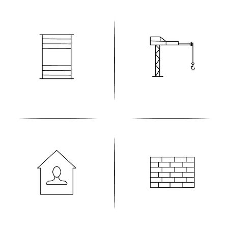 Buildings And Constructions simple linear icons set. Outlined vector icons. Ilustrace