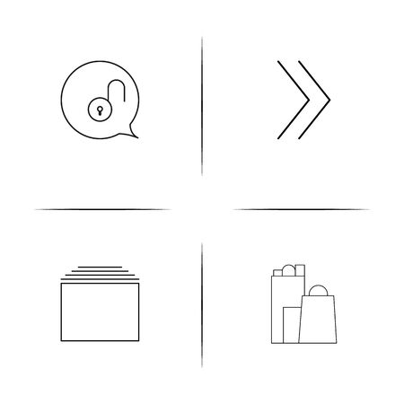 Interface simple linear icons set. Outlined vector icons. Illustration