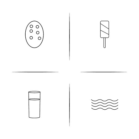 Food And Drink simple linear icons set. Outlined vector icons Reklamní fotografie - 98884529