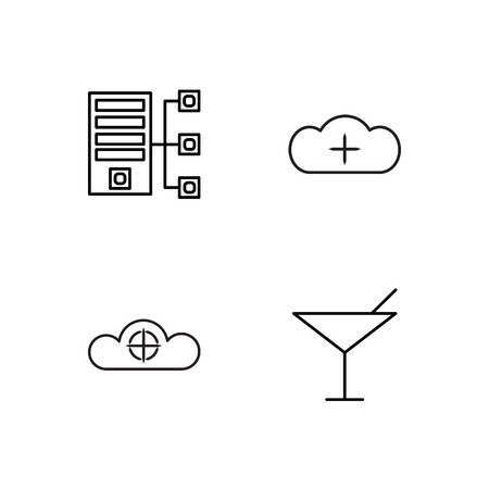 business simple outlined icons set Vettoriali
