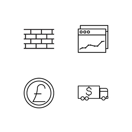 business simple outlined icons set Illusztráció