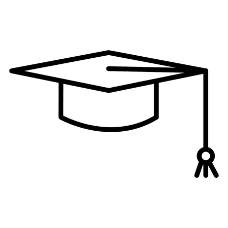 Mortarboard icon vector isolated on white background, Mortarboard transparent sign , thin pictogram or outline symbol design in linear style