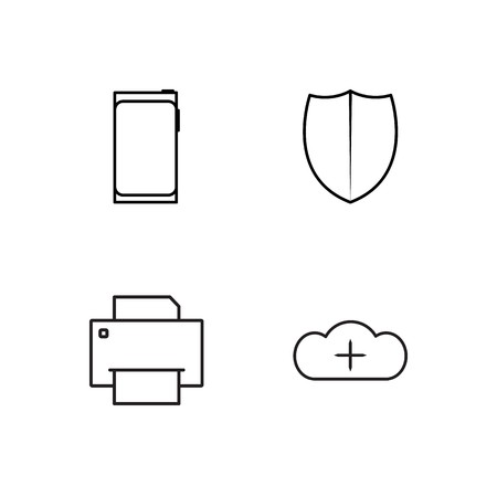 business simple outlined icons set 向量圖像