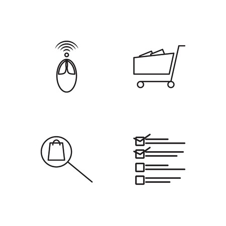 business simple outlined icons set Illustration