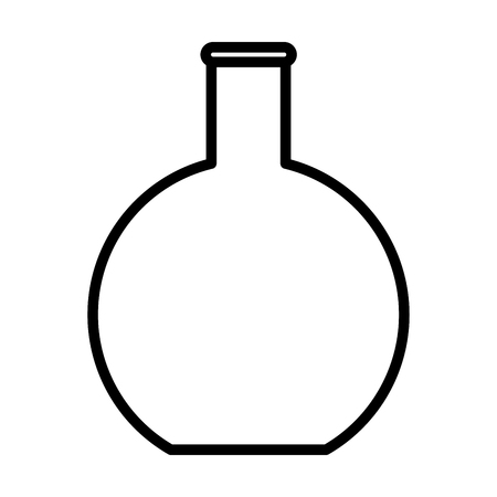 Flat bottom flask, beaker line icon, outline vector sign, linear style pictogram isolated on white. Chemical laboratory glassware symbol, logo illustration. Editable stroke. Pixel perfect graphics
