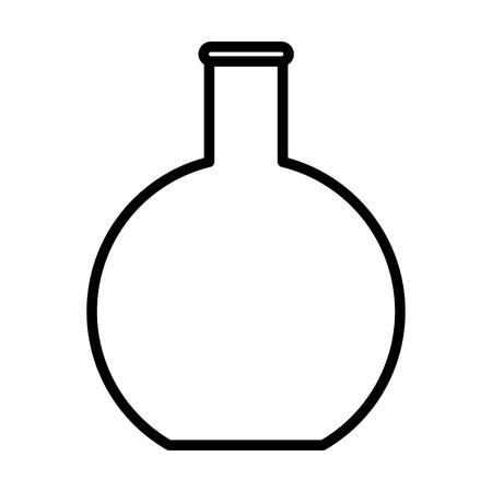Platte bodem kolf bekerglas lijn pictogram, overzichts vector teken, lineaire stijl pictogram geïsoleerd op wit. Chemisch laboratoriumglaswerk symbool, logo illustratie. Bewerkbare streek. Pixel perfecte graphics