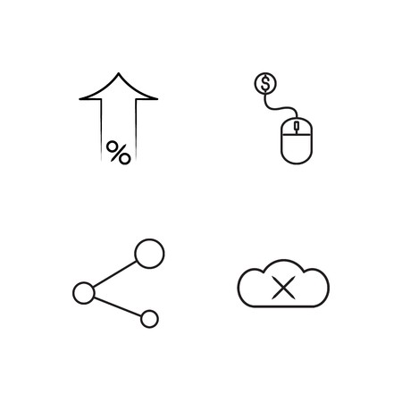 business simple outlined icons set 일러스트