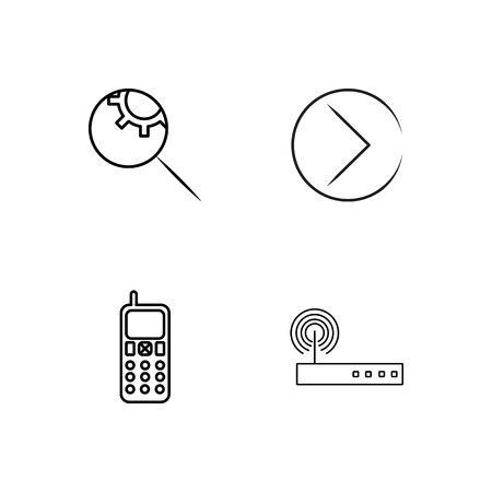 business simple outlined icons set 矢量图像