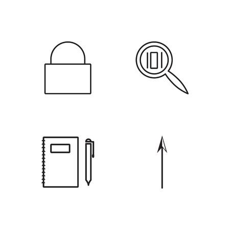 business simple outlined icons set Ilustração