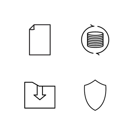 business simple outlined icons set  イラスト・ベクター素材