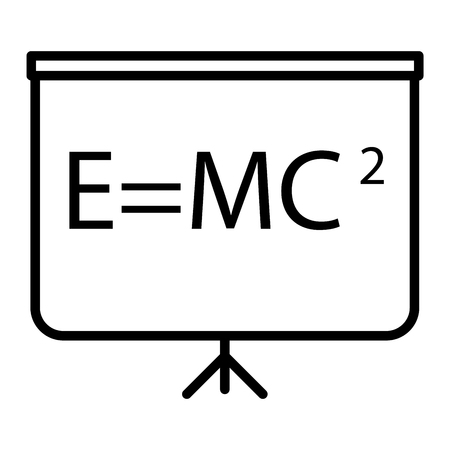 Blackboard icon in thin outline style. Education school college physics math Stock Illustratie