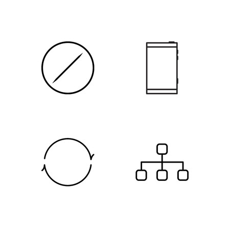 business simple outlined icons set Çizim
