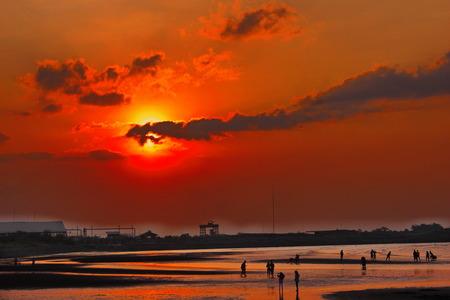 Wonderful Red Sunset Beach