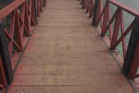 Wooden bridge in bromo tengger Semeru Park , east Java, Indonesia
