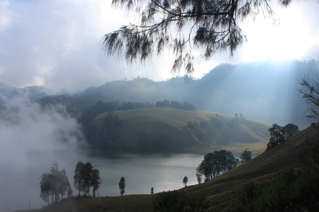 Landscape in Bromo Mountain, Bromo Tengger Semeru National Park, East Java, Indonesia Stock Photo