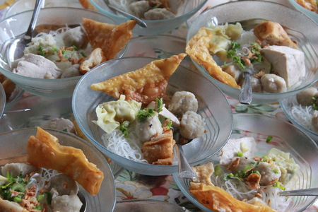 Indonesian famous foodstreet bakso , Indonesia meatballs Stock Photo