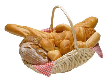 Breads and rolls in a wicker basket isolated with clipping path Stock Photo